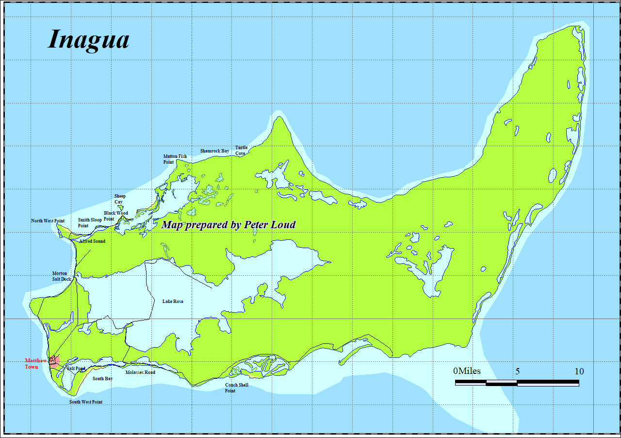 Map of Great Inagua The Bahamas Peter Loud
