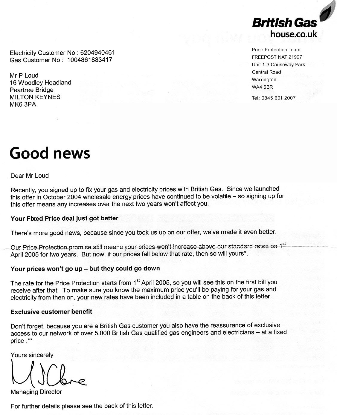 British Gas Fraud - Fixed Price Agreement.